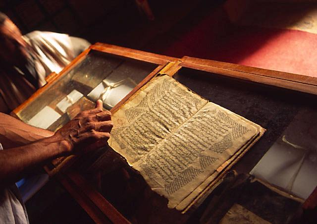 Manuscript in een woestijnbibliotheek in Mauritanië (foto: Nicolien Zuijdgeest).