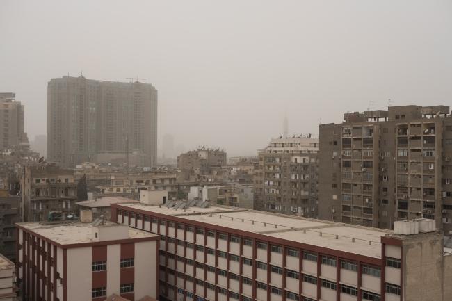 Afb. 2. Het zicht neemt af vanwege de Khamasin-wind, 5 januari 2019, 13:00 uur (Foto's: Marie Piessat)