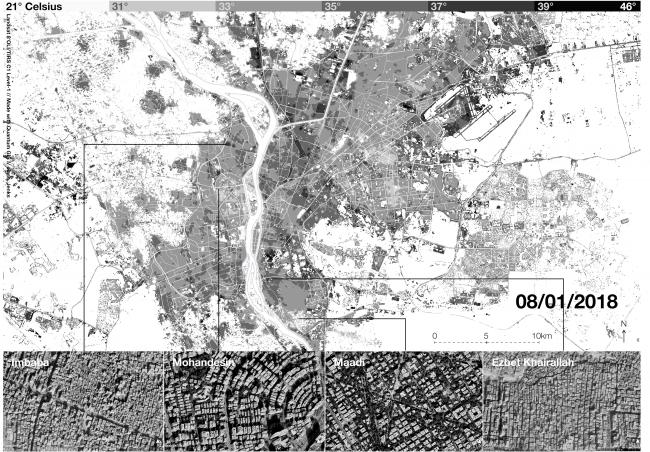 Afb. 3. Oppervlaktetermperatuur op land van de bebouwde gebieden van Caïro. De meest dichtbebouwde gebieden bereiken de hoogste temperaturen (zomer 2018) (Pierre Le Fur, Dalila Ghodbane)