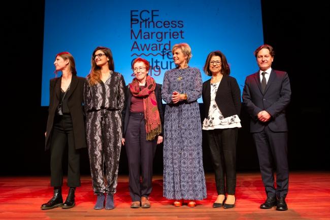 Princess Margriet Award 2019 laureaten, ECF President HKH Prinses Laurentien en ECF Director André Wilkens (foto Maarten van Haaff voor ECF).