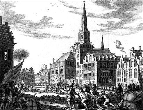 Aanslag van de Wederdopers op het Stadhuis van Amsterdam op 10 mei 1535 (illustratie Simon Fokke)
