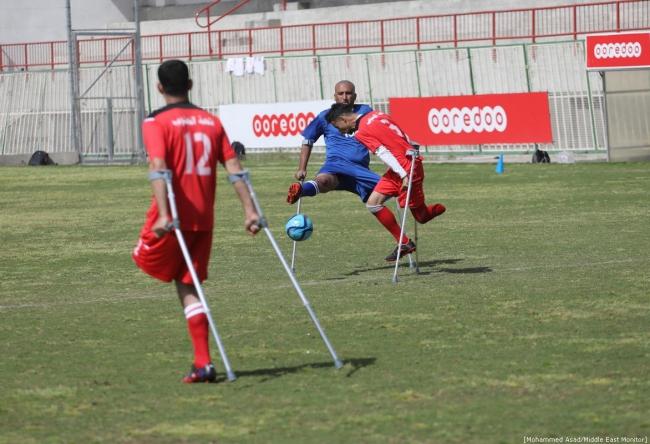 April 2019: Voetbalkampioenschappen in Gaza voor mannen die door het Israëlische leger beschoten werden en daardoor een of meerdere ledematen kwijtraakten. ©Mohammed Asad Middle East Monitor