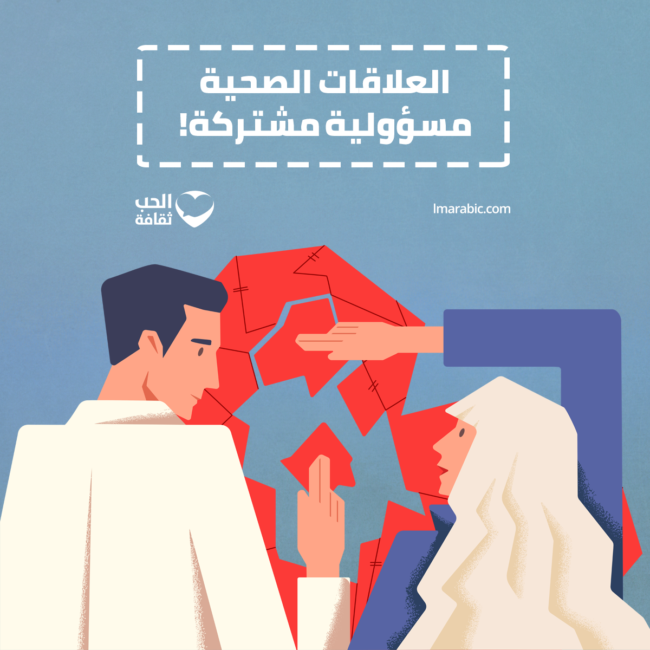'Gezonde relaties zijn een gedeelde verantwoordelijkheid' (Facebookpagina Love Matters Arabic, Al-Hubb Thaqafa)