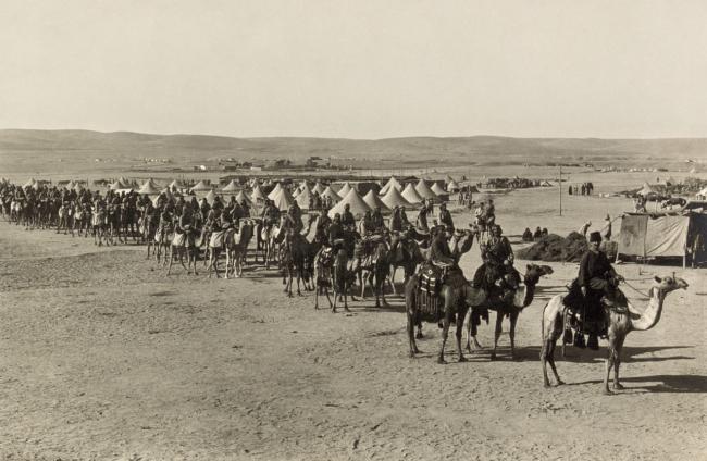 Het Turks-Arabische kamelkorps in de woestijn van Beersheeba maakt zich op om de Britse invasie van Gaza te weerstaan.