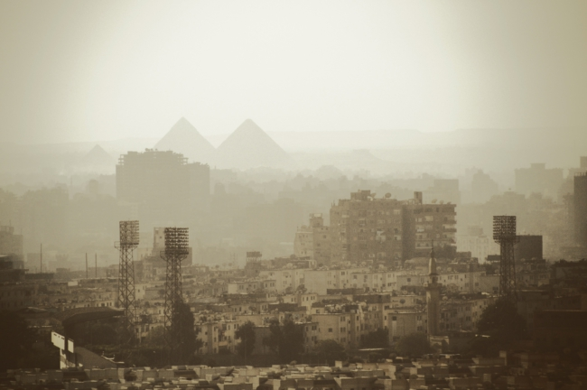 The great pyramids of Gizeh through the smog
