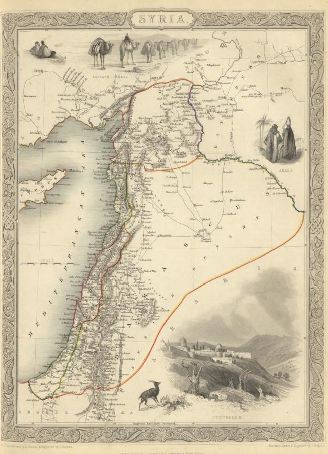 Kaart uit 1851 van Syrië en Libanon door de illustrator Henry Warren (1794-1879)