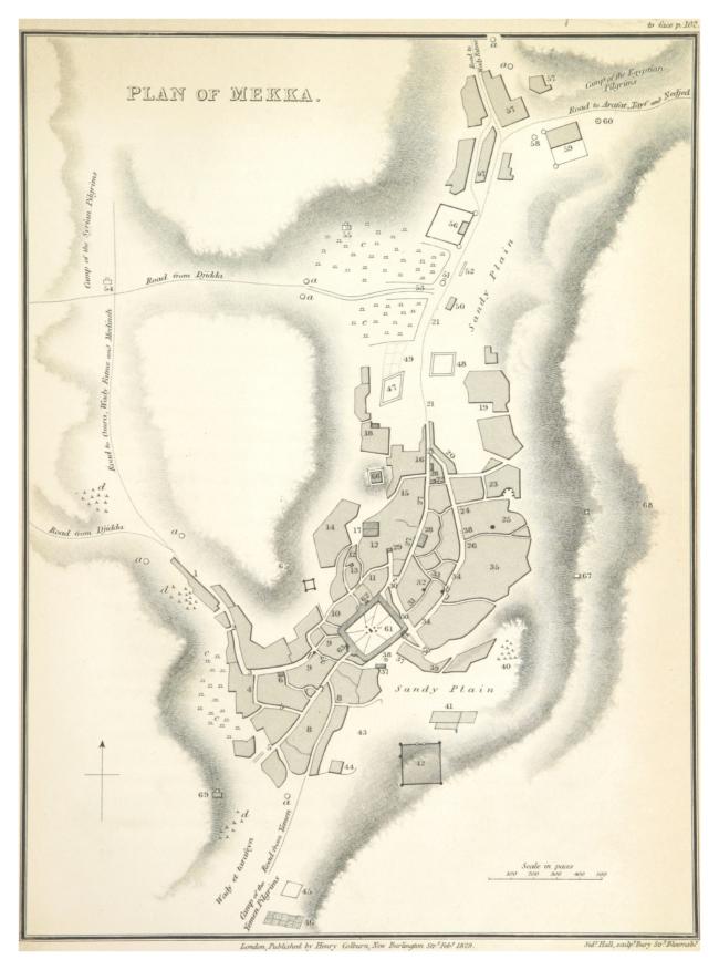 Burckhardts schets van de gebouwen in Mekka