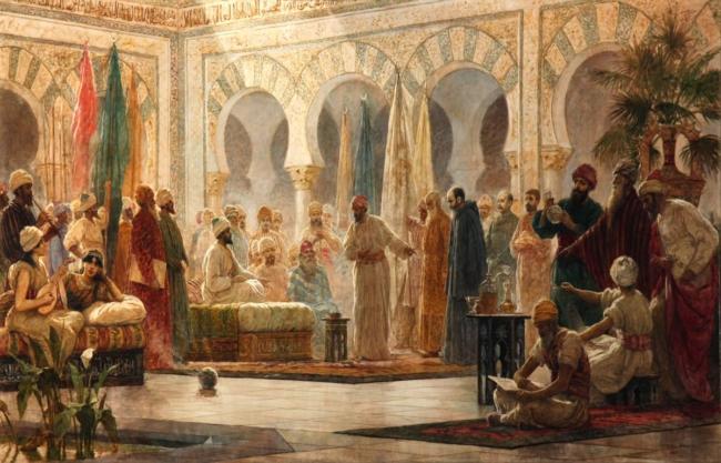 Schilderij van Dionisio Baixeras: Johannes van Gorze verschijnt als gezant van keizer Otto I voor kalief Abdurrahman III.