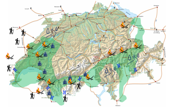Saracenen op Zwitsers gebied (in het groen).