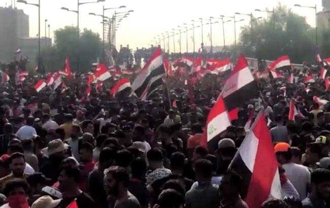 Impressie van de protesten in Bagdad in oktober 2019. Beeld: Wikimedia Commons