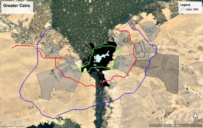 Cairo. De grijze gebieden zijn nieuwe geplande nederzettingen in de woestijn. Het zwarte gebied herbergt 91 procent van Cairo's 20 miljoen bewoners, waarvan 65 procent in dichte, informeel gebouwde huizen woont. Beeld: Sonja Spruit