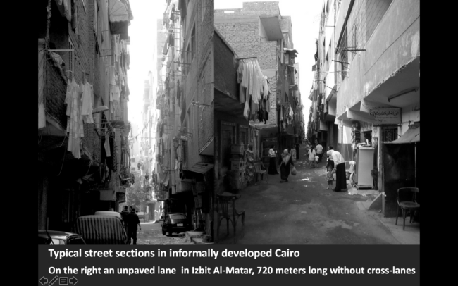 Typical street section in informally developed Cairo. Picture by Sonja Spruit