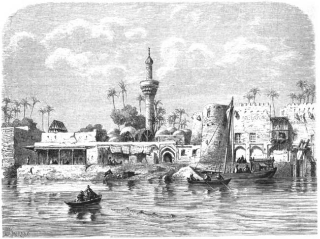 Prent uit 1861 van de Eufraat bij Hilla, een stad in Midden-Irak. Vereeuwigd door Jean-Baptiste Eugène Napoléon Flandin, Franse archeoloog, schilder en oriëntalist (1809-1889)