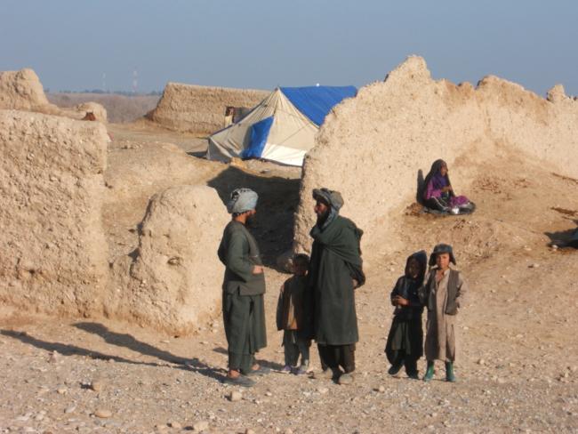 Geïmproviseerd vluchtelingenkamp, Lashkar Gah, provincie Helmand.
